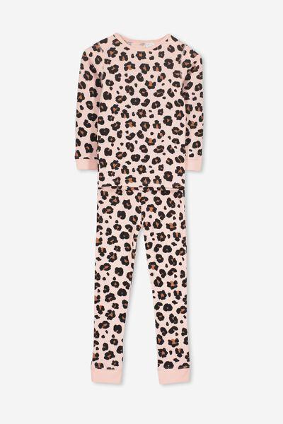 Shae Girls Long Sleeve Waffle Pyjama Set, ANIMAL