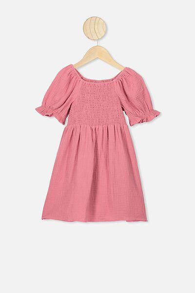 Lillie Short Sleeve Dress, FADED ROSE