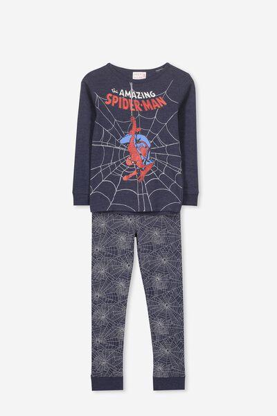 Harry Long Sleeve Boys PJ Set, LCN MAR SPIDERMAN NAVY WEB