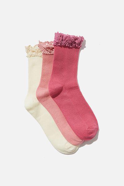 Kids 3Pk Crew Socks, PINK BROIDERIE FRILL