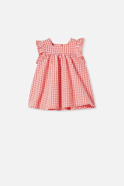 Annie Flutter Sleeve Dress, RED ORANGE/MINI GINGHAM