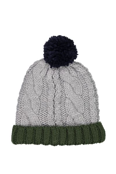 Winter Knit Beanie, GREY MARLE BAYBERRY