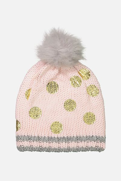Winter Knit Beanie, GOLD FOIL SPOT