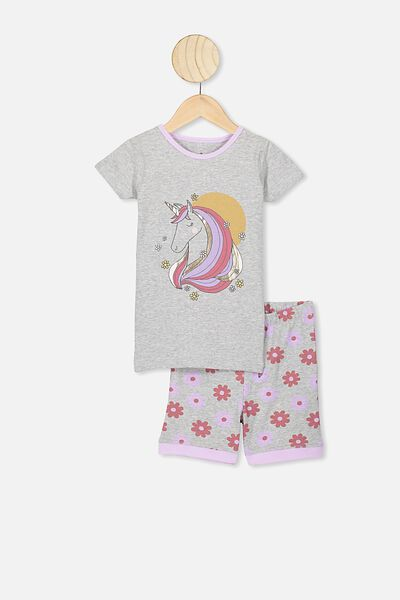 Nikki Short Sleeve Pajama Set, SUMMER GREY MARLE/70S UNICORN