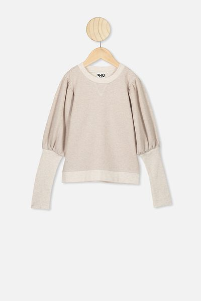 Palila Puff Sleeve Fleece, BLUSH MARLE/SPARKLE