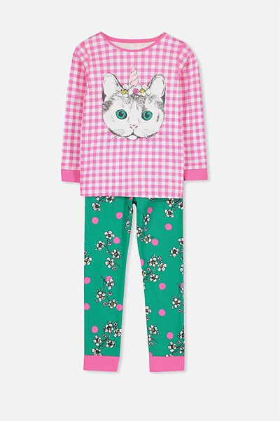 Alicia Long Sleeve Girls PJ Set, CAT-A-CORN