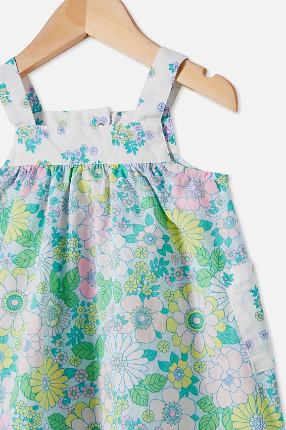 Emma Pinafore Dress, FROSTY BLUE/BLUE BIRD RETRO FLORAL