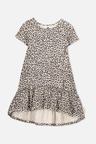 Joss Short Sleeve Dress, NATURAL LEOPARD