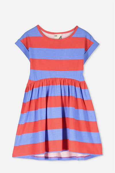 Nicola Short Sleeve Dress, MARINA/TOMATO STRIPE