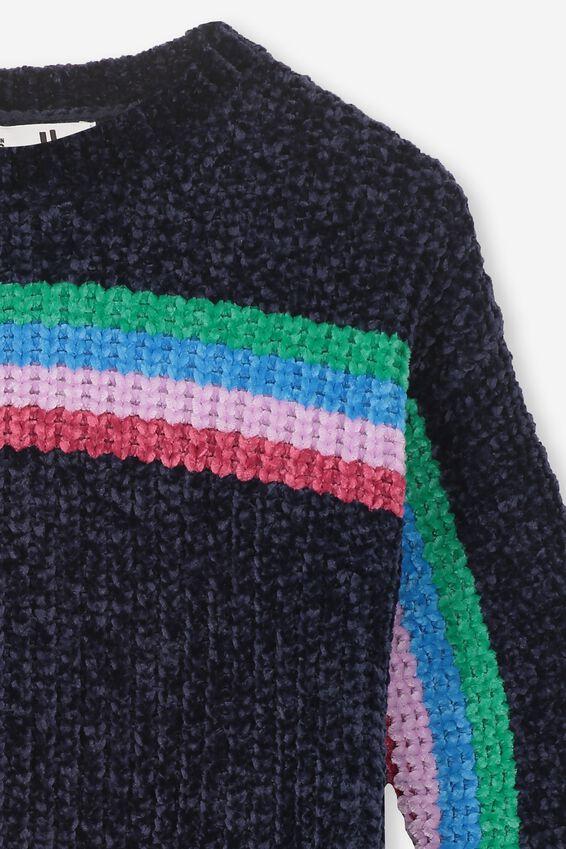 Shelly Knit Jumper, PEACOAT/MULTI STRIPE