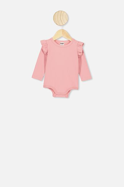 The Long Sleeve Ruffle Bubbysuit, MUSK ROSE