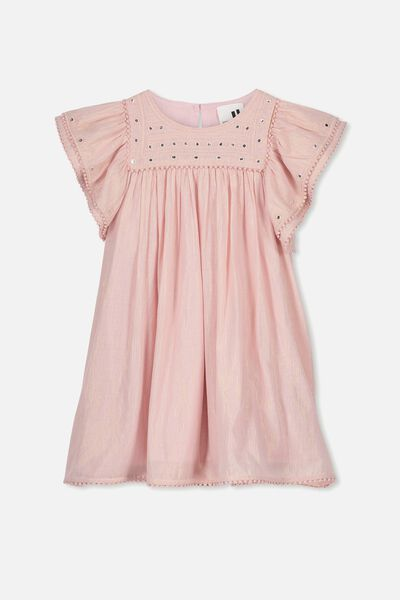 Rose Flutter Sleeve Dress, DUSTY PINK/GOLD