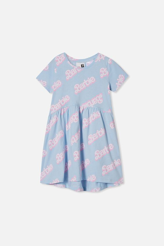 License Freya Short Sleeve Dress, LCN MAT FROSTY BLUE/BARBIE LOGO