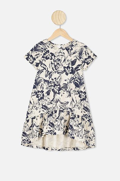 Joss Short Sleeve Dress, DARK VANILLA/TROPICAL FLORAL