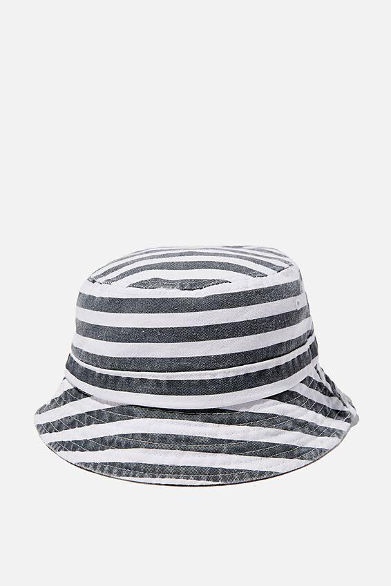 Baby Bucket Hat, VINTAGE NAVY/CANDY STRIPE