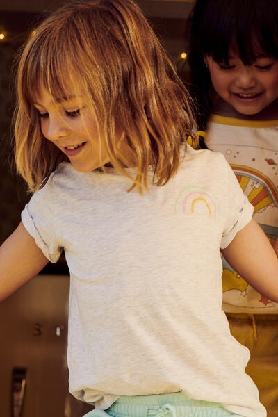 Penelope Short Sleeve Tee, SUMMER GREY MARLE/RAINBOW FRONT AND BACK/MAX
