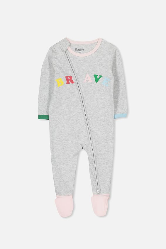 Sleep Mini Zip All In One Jumpsuit, CLOUD MARLE/BRAVE STRONG GIRL