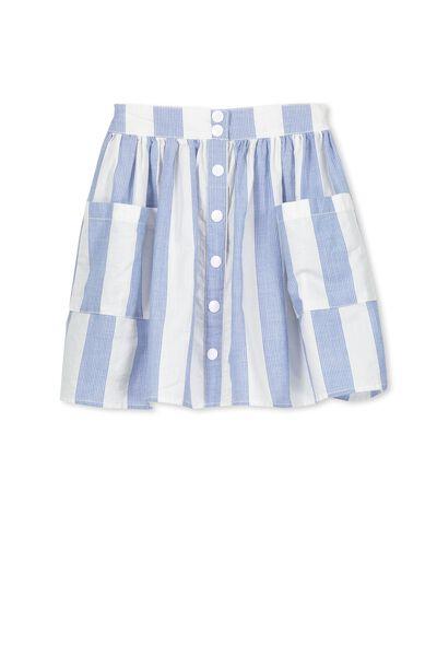 Haille Skirt, VANILLA/RIVIERA BLUE STRIPE