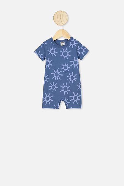 The Short Sleeve Romper, PETTY BLUE SUNS