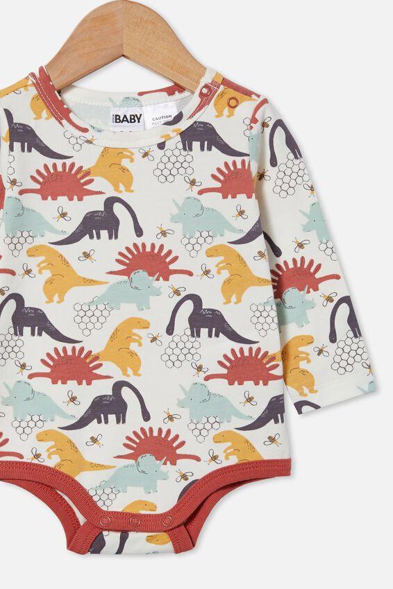 The Long Sleeve Bubbysuit, VANILLA/RABBIT GREY DINO HIVE