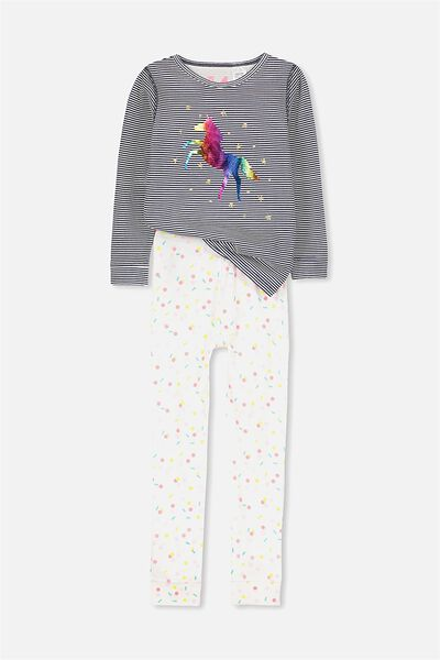 Alicia Long Sleeve Girls PJ Set, UNICORN RAINBOW