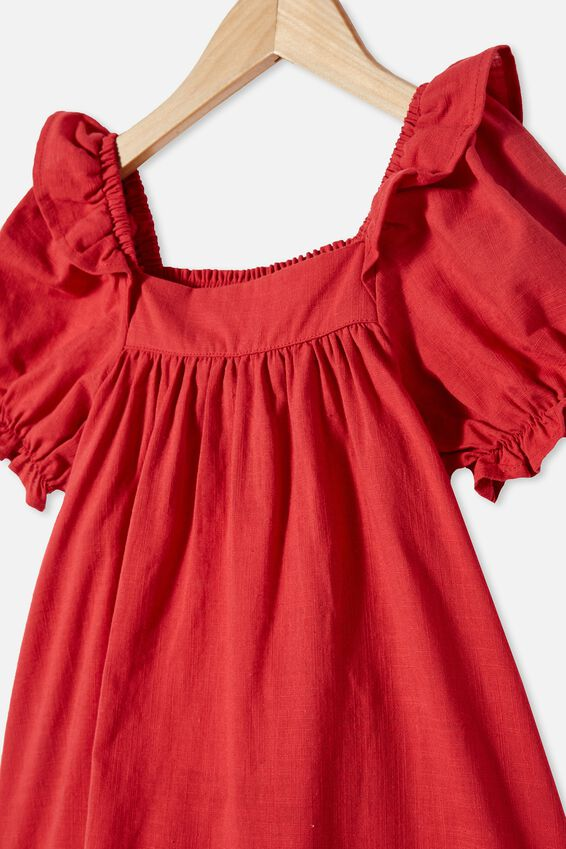 Aimee Short Sleeve Dress, LUCKY RED
