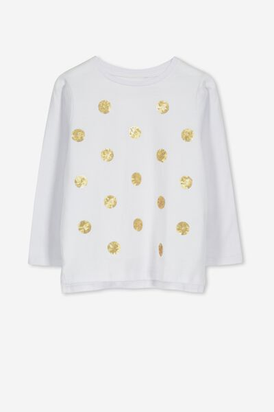 Stevie Ls Embellished Tee, WHITE/SEQUIN SPOTS