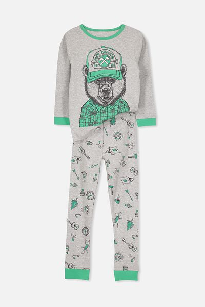 Harry Long Sleeve Boys PJ Set, CHILLIN BEAR