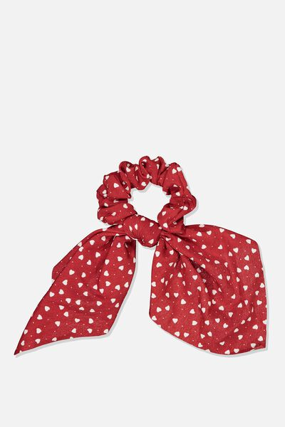 Scarf Scrunchie, RED/HEARTS