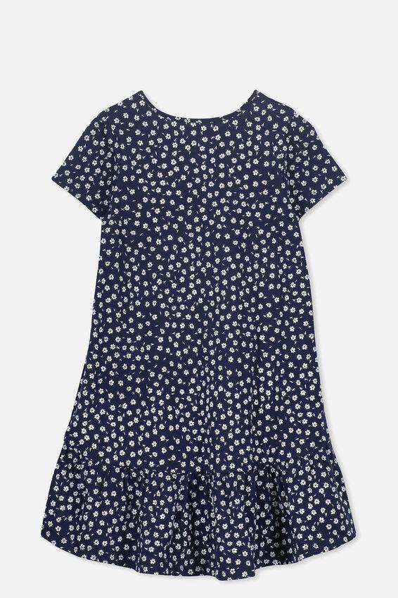 Joss Short Sleeve Dress, PEACOAT/SIMPLE DITSY