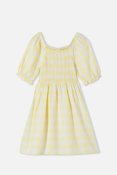 Lillie Short Sleeve Dress, LEMON DROP GINGHAM