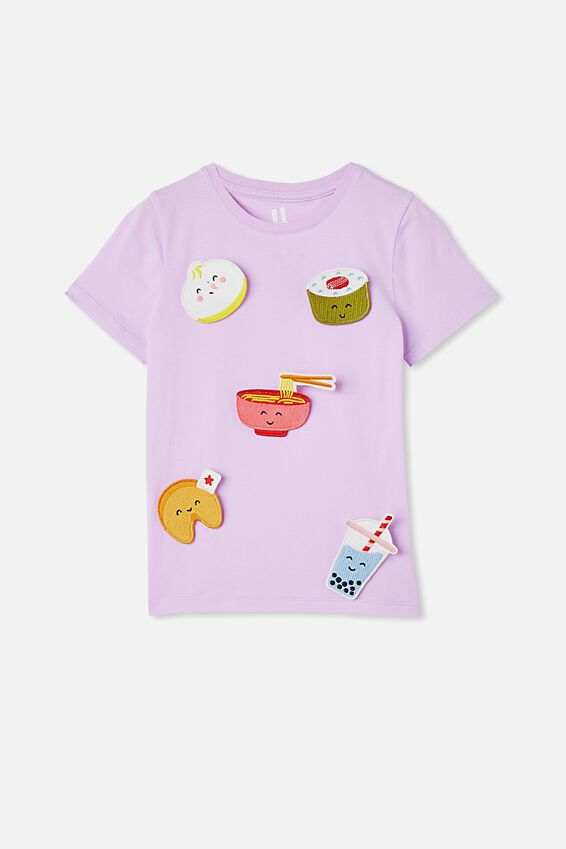 Stevie Short Sleeve Embellished Tee, PALE VIOLET/ HAPPY FOODS