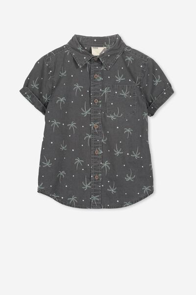 Jackson Short Sleeve Shirt, GRAPHITE PALM TREE SPOTS