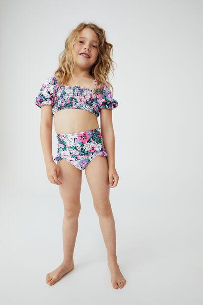 Primrose Puff Sleeve Bikini, PHANTOM/POP FLOWER GARDEN