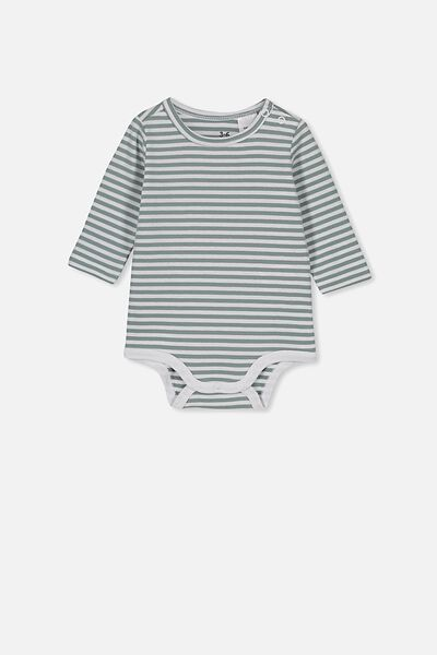 The Long Sleeve Bubbysuit, CHRIS STRIPE WHITE/STORMY SEA