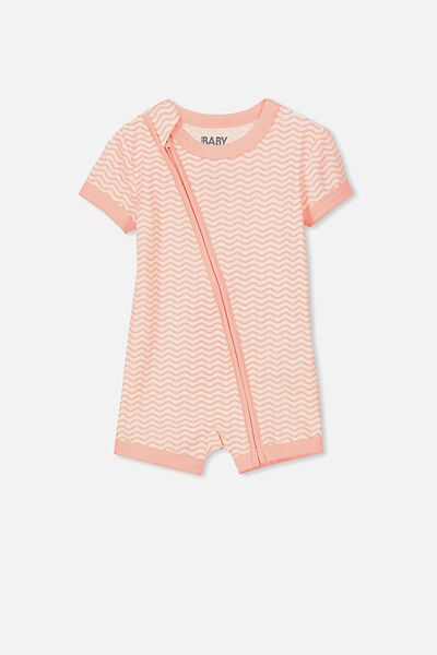 Mini Ss Zip Through Romper, VANILLA/PEACH PUFF STRIPE