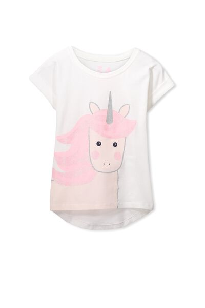 Penelope Short Sleeve Roll Up Tee, VANILLA/GLITTER UNICORN