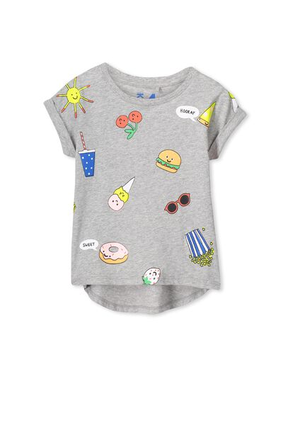 Penelope Short Sleeve Roll Up Tee, LIGHT GREY MARLE/FUN FOOD YARDAGE