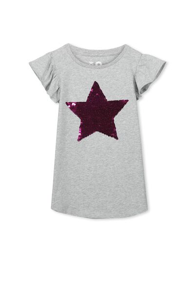 Anna Short Sleeve Flutter Tee, LIGHT GREY MARLE/REVERSE SEQUIN STAR
