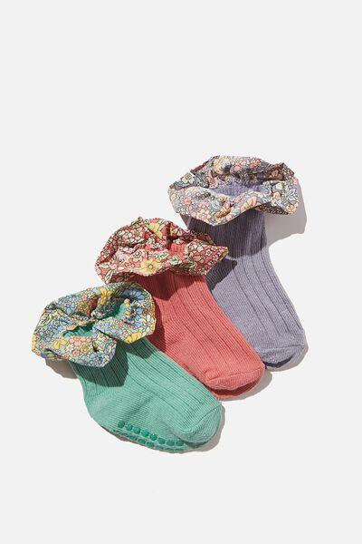 3Pk Baby Socks, MULTI FLORAL FRILL
