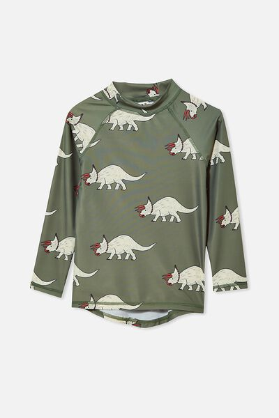 Flynn Long Sleeve Raglan Rash Vest, SWAG GREEN/DINO