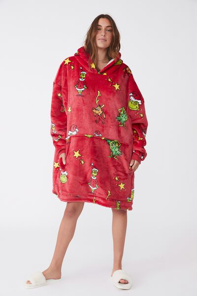 Snugget Adults Oversized Hoodie Licensed Northern, LCN DRS GRINCH XMAS TREE LUCKY RED