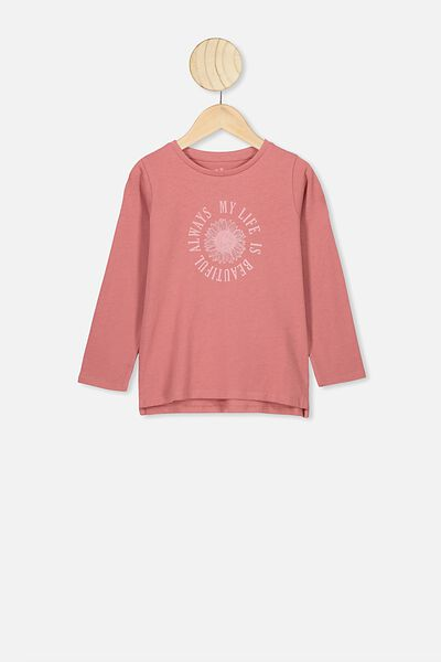 Penelope Long Sleeve Tee, FADED ROSE/MY LIFE IS BEAUTIFUL
