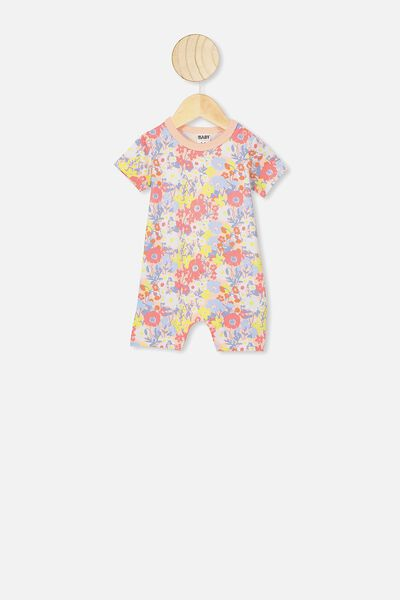 The Short Sleeve Romper, PASTEL PEACH/MEADOW FLORAL