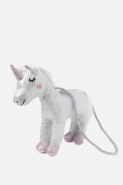 Plush Animal Bag, UNICORN/METALLIC