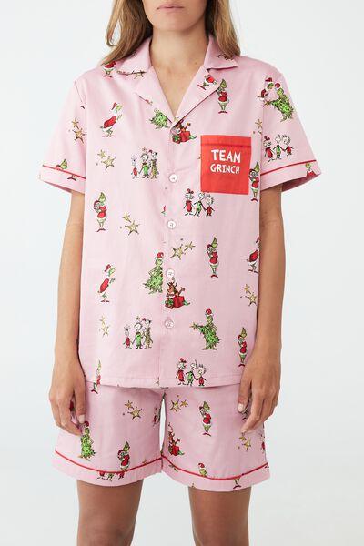 Carter Unisex Short Sleeve Pyjama Set Licensed, LCN DRS GRINCH FACE MARSHMALLOW