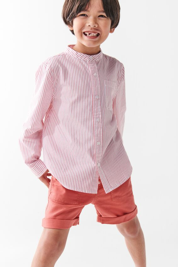 Grandpa Collar Prep Shirt, VERTICAL STRIPE/WHITE/RED
