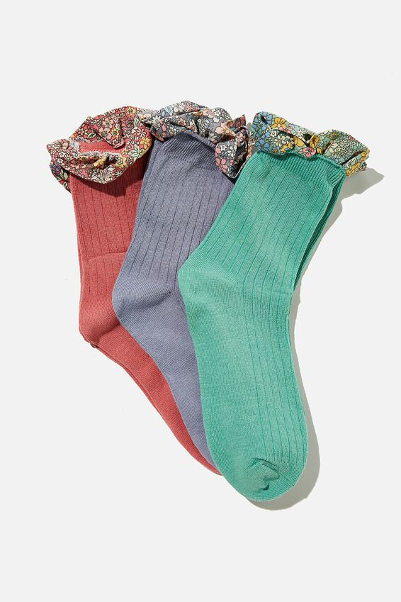 Kids 3Pk Crew Socks, MULTI FLORAL FRILL