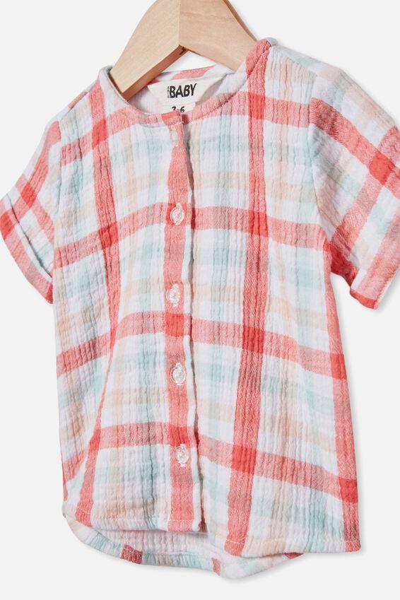 Mike Short Sleeve Shirt, CORAL CRUSH/KEANAN CHECK