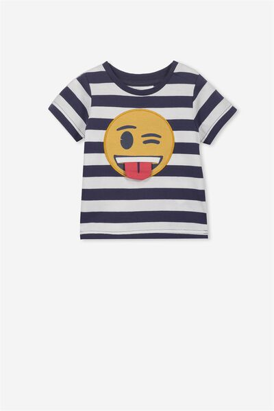 License Freddie Short Sleeve Tee, FADED NAVY STRIPE/SMILE